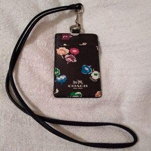 Coach Black Multi Color Floral Lanyard ID
